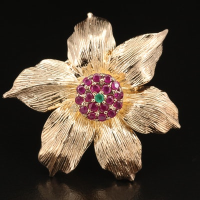 Sterling Ruby and Emerald Flower Ring