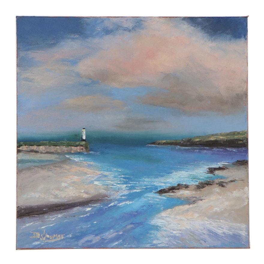 "James Baldoumas Oil Painting ""Harbor Scene,"" 2021"