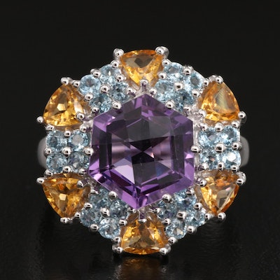 14K Amethyst, Citrine and Topaz Ring
