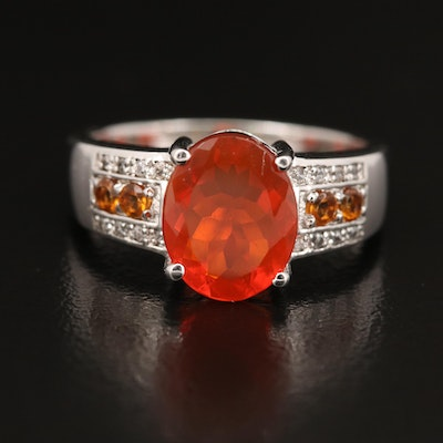 Sterling Fire Opal, Citrine and Zircon Ring