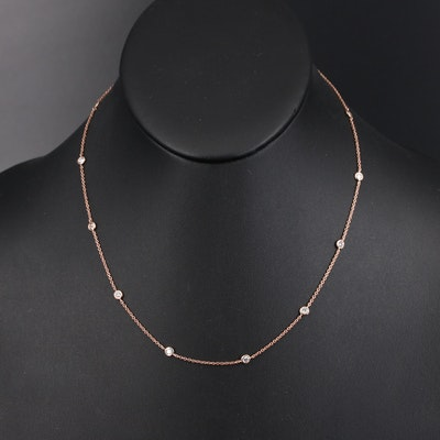 14K Rose Gold Diamond Bezel Set Station Necklace