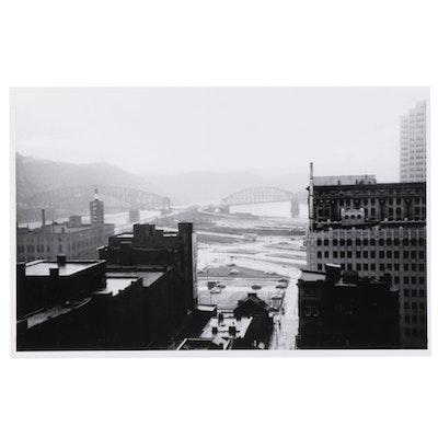 W. Glen Davis Cityscape Halftone Pittsburgh Bridges