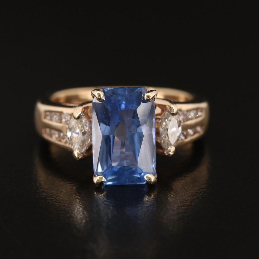 14K 4.05 CT Sapphire and Diamond Ring with GIA Report