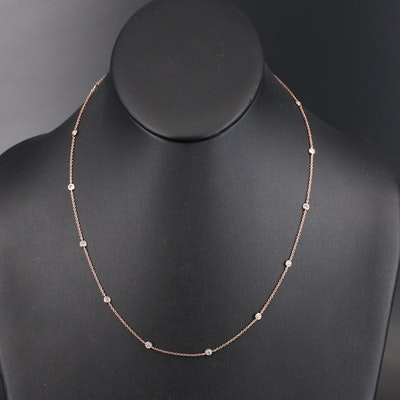 14K Rose Gold Diamond Station Necklace