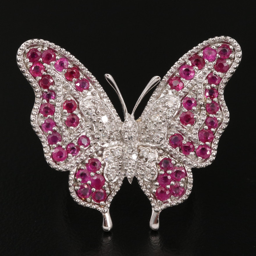 Sterling Ruby and Diamond Butterfly Ring