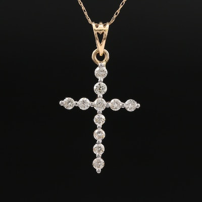 14K Diamond Cross Pendant on 10K Chain Necklace