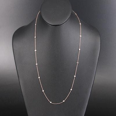 14K Bezel Set 1.00 CTW Diamond Station Necklace
