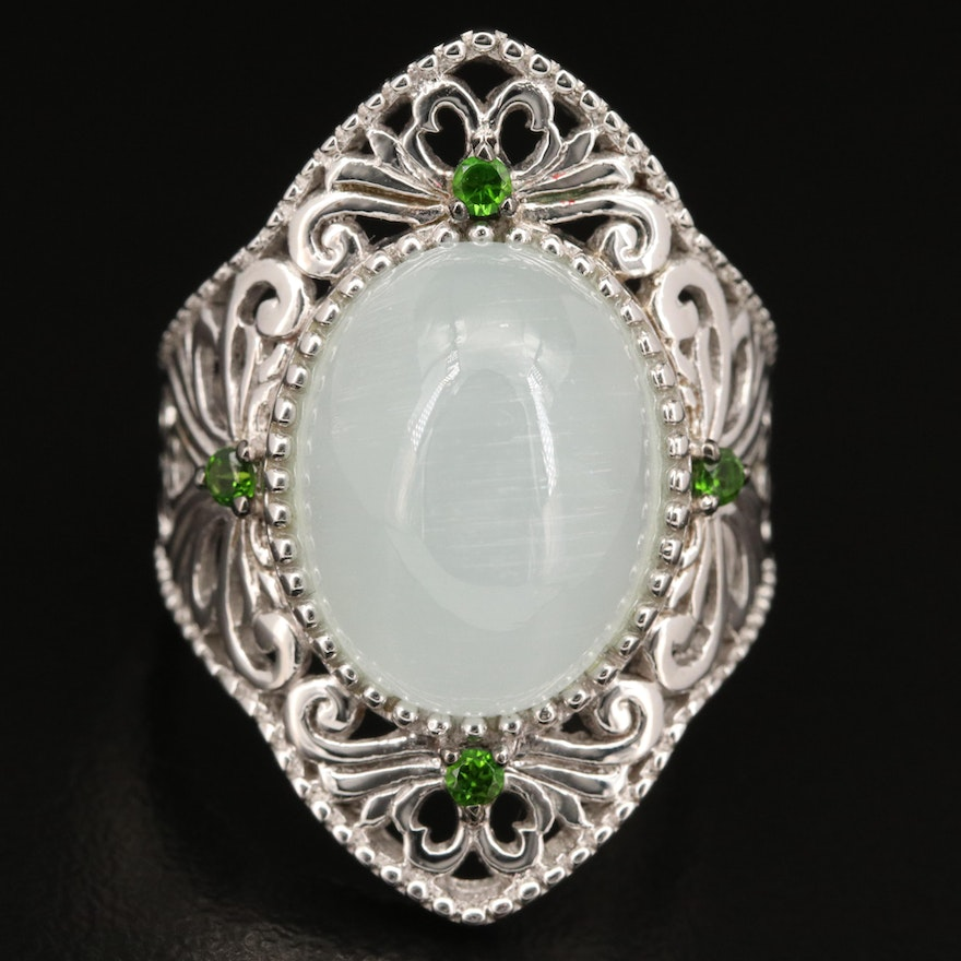 Sterling Beryl and Diopside Openwork Navette Ring