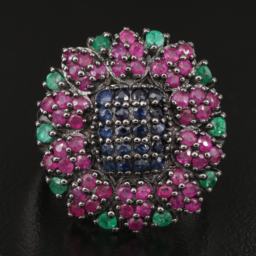 Sterling Ruby, Emerald and Sapphire Ring with Floral Design