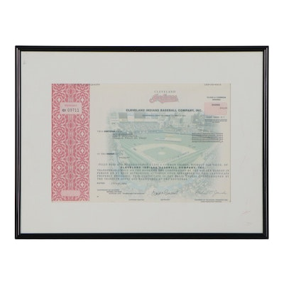 Cleveland Indians Baseball Club Stock Shares Certificate, 1998