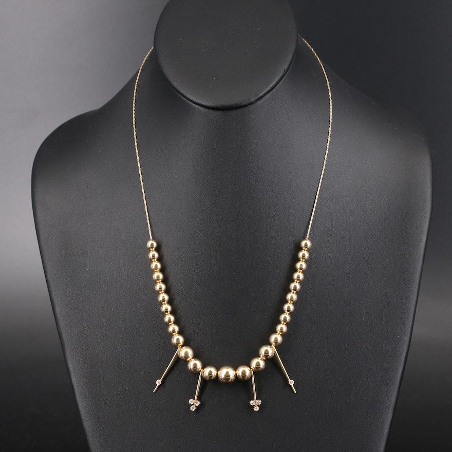 14K Diamond Graduated Bead Necklace