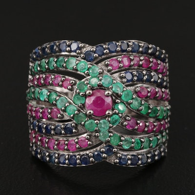Sterling Ruby, Emerald and Sapphire Multi-Row Ring