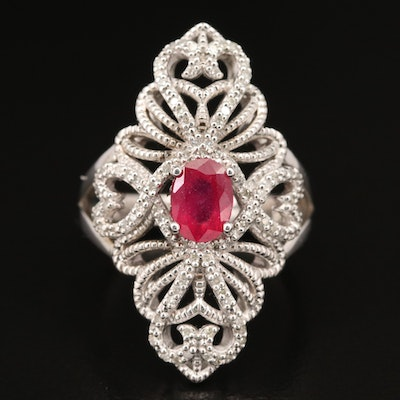 Sterling Corundum Navette Ring