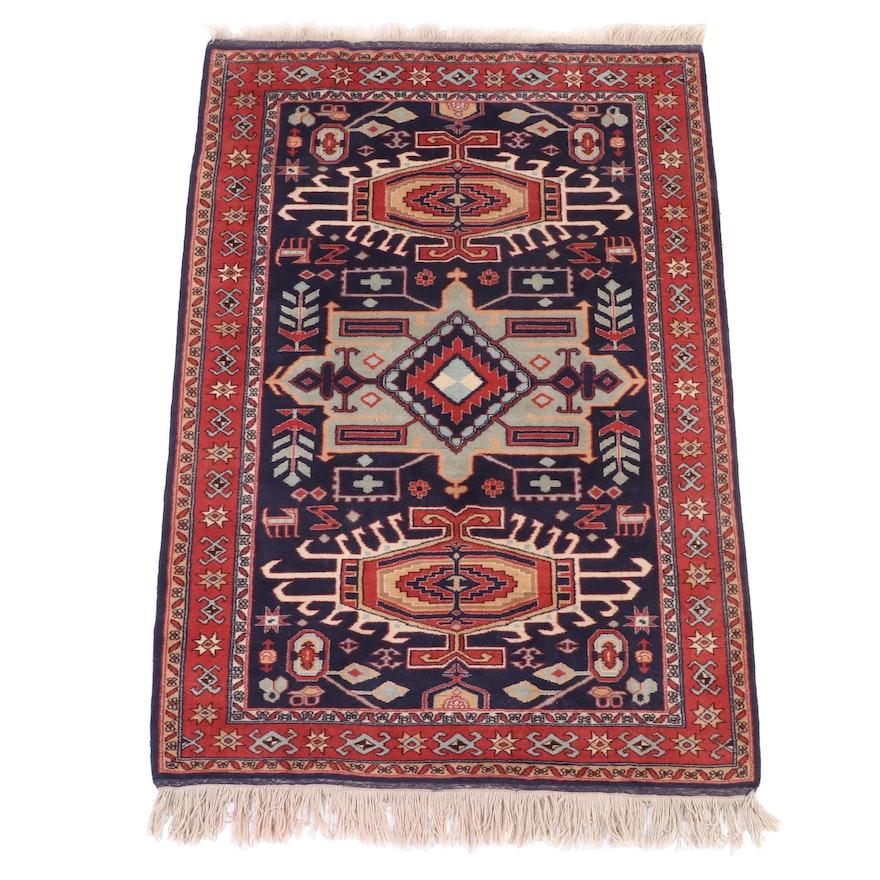 4'10 x 7'10 Hand-Knotted Caucasian Kazak Wool Area Rug