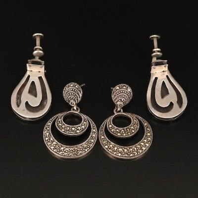Sterling Marcasite Earrings and Mexican Screw Back Earrings