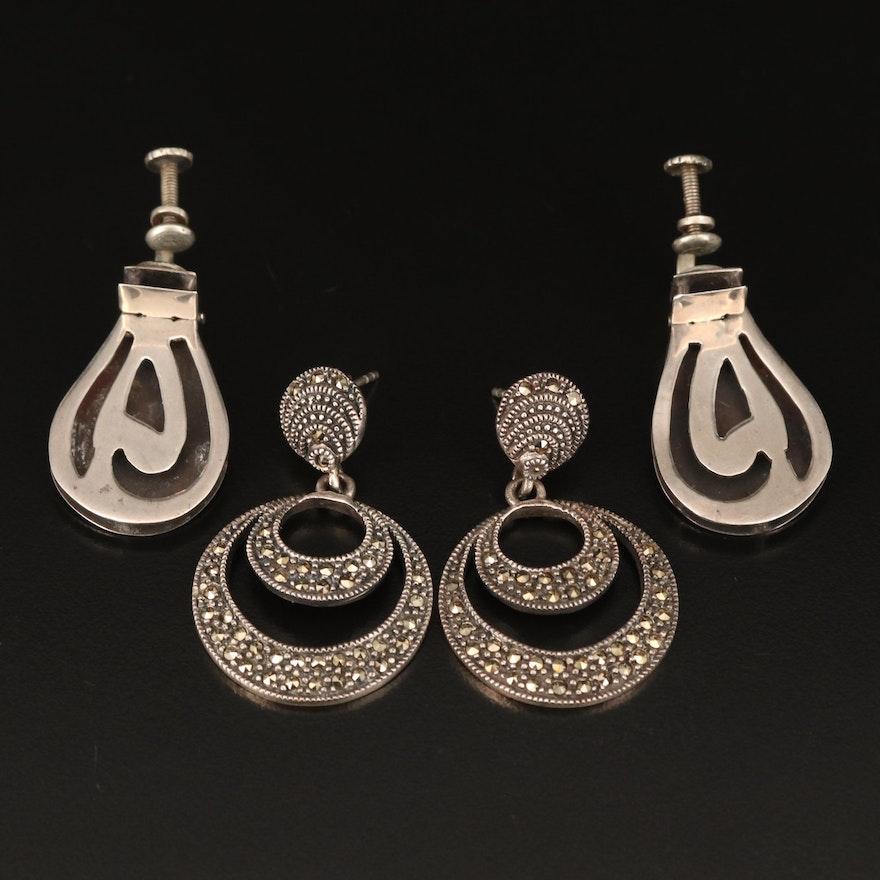 Sterling Marcasite Earrings and Mexican Screw Back Earrings