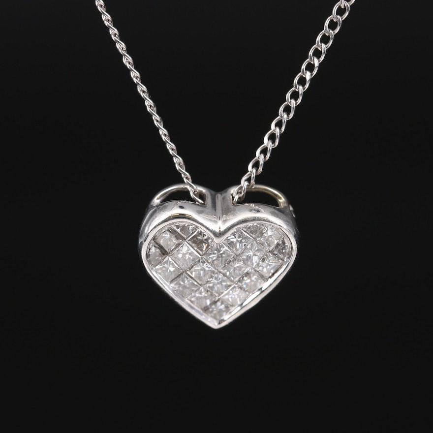 14K 1.02 CTW Diamond Heart Pendant Necklace