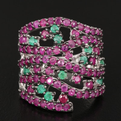 Sterling Ruby and Emerald Openwork Ring