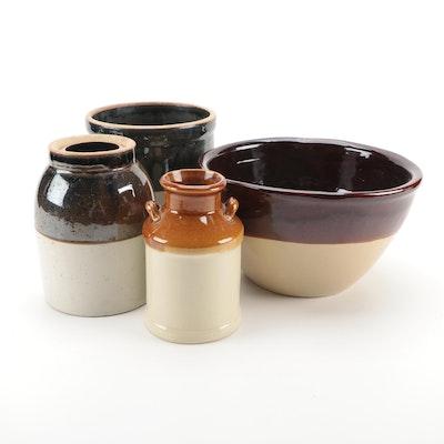 Salt Glazed Stoneware Crock, Jugs and Bowl