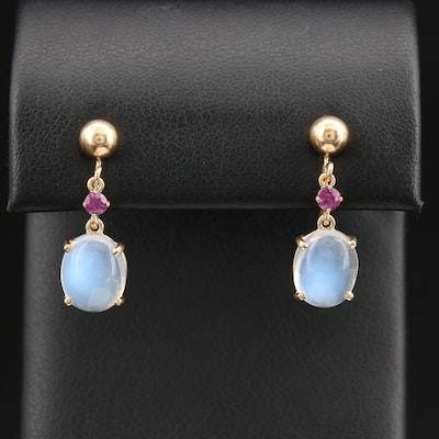 Vintage 14K Moonstone and Ruby Screw Back Earrings
