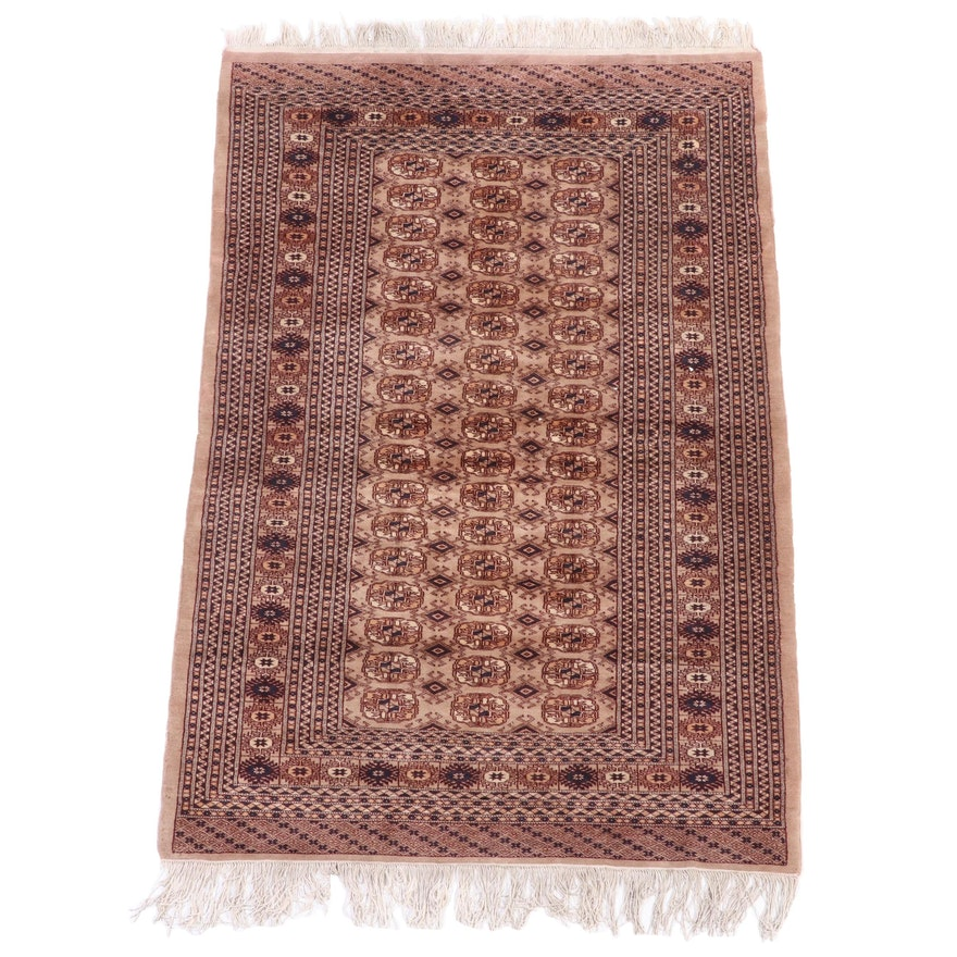 4'2 x 7' Hand-Knotted Afghan Turkmen Bokhara Area Rug