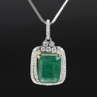 Italian 14K 9.56 CT Emerald and 1.00 CTW Diamond Double Halo Pendant Necklace