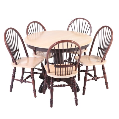 Six-Piece Bois Kennebec Ltée Primitive Style Parcel-Stained Hardwood Dining Set