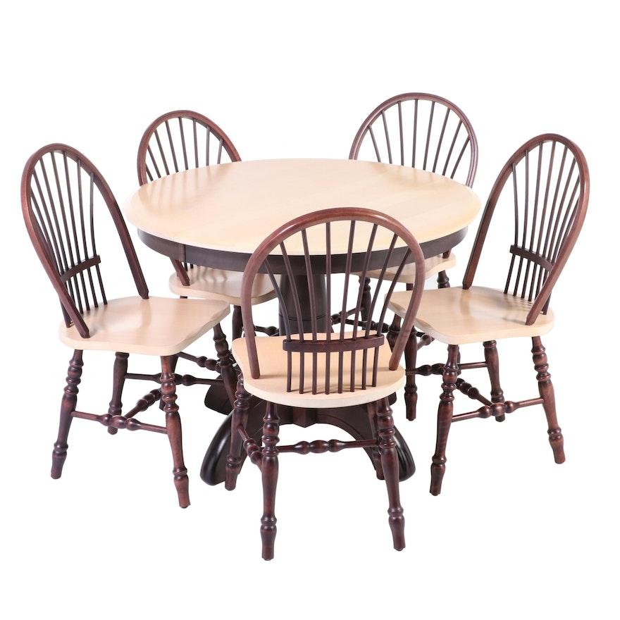 Six-Piece Bois Kennebec Ltée Primitive Style Parcel-Stained Hardwood Dining Set
