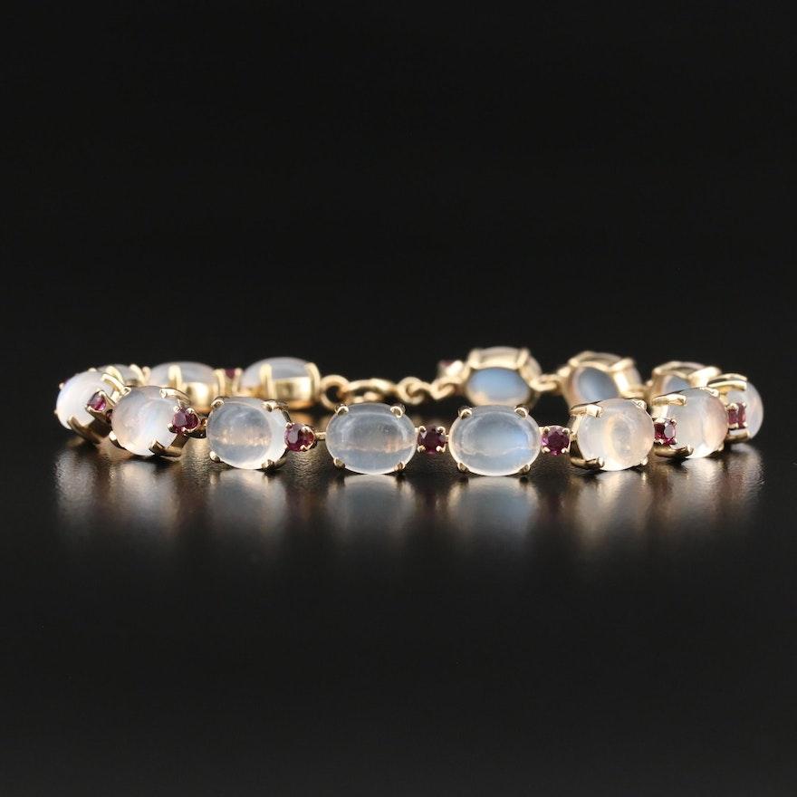 Vintage 14K Moonstone and Ruby Link Bracelet