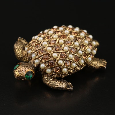 Rhinestone and Pearl Turtle Brooch