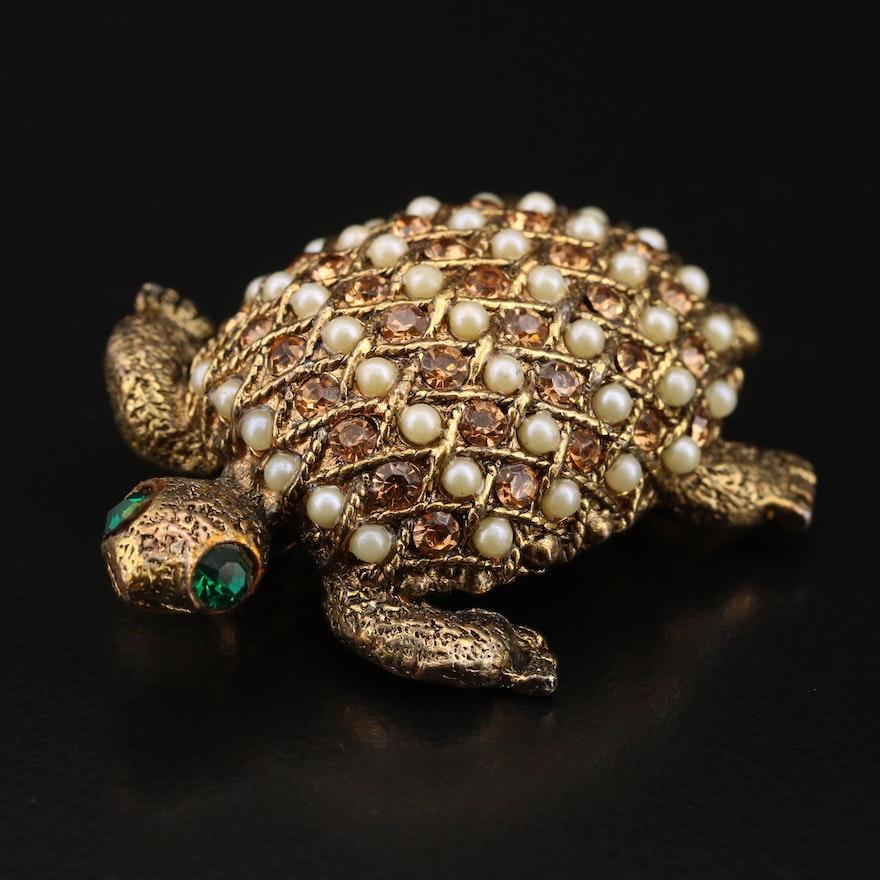 Rhinestone and Pearl Turtle Brooch