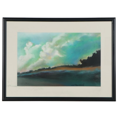 """Leigh Rodenbough Pastel Drawing """"Green Clouds"""""""