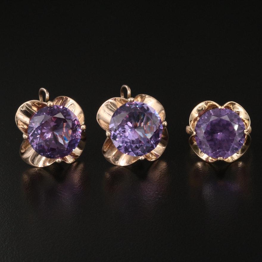 Retro Sapphire 10K Drop Earrings and 14K Ring