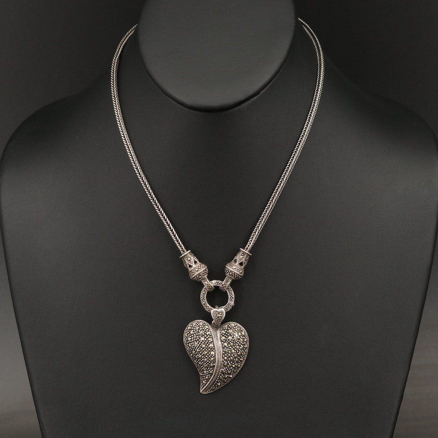 Sterling Leaf Necklace with Marcasite