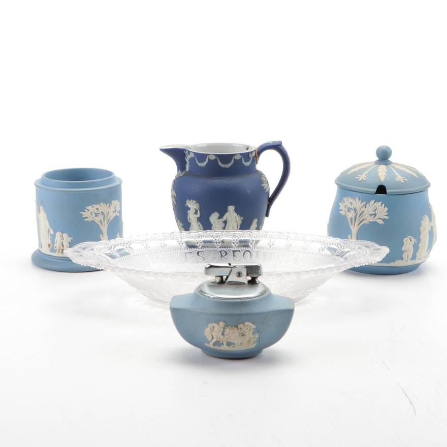 Wedgwood Blue Jasperware Table Accessories with Lighter and Glass Pickle Dish