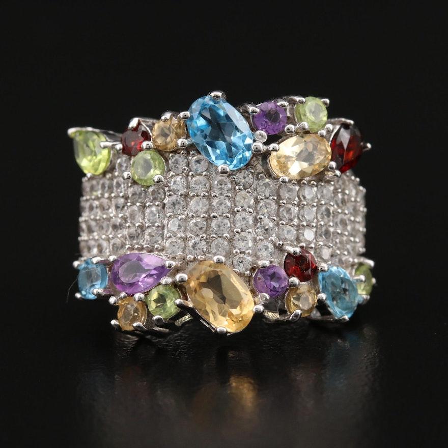 Sterling Topaz, Citrine and Gemstone Cluster Ring
