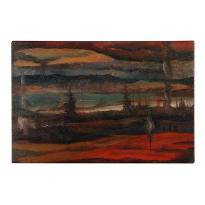 Ted Conrath Abstract Expressionist Landscape Oil Painting, 1961