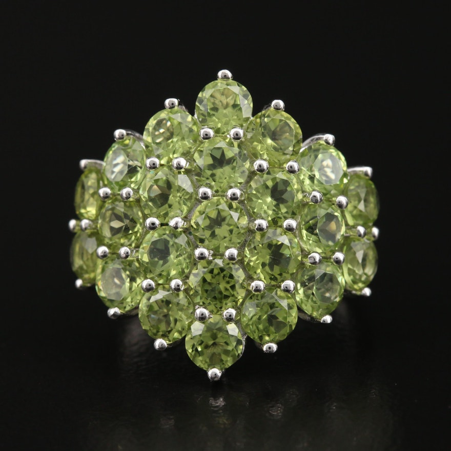 Sterling Peridot Cluster Ring