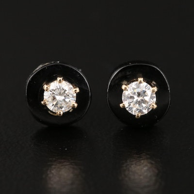 14K Diamond and Black Coral Stud Earrings