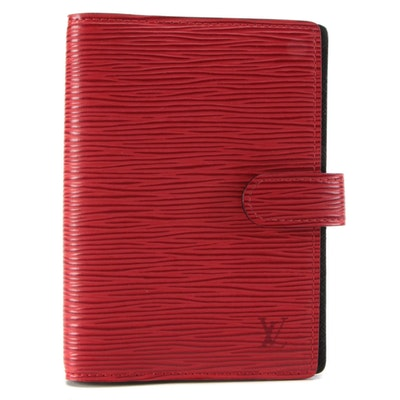 Louis Vuitton Small Agenda Notebook in Red Epi Leather