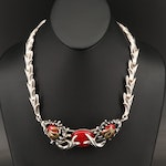 Signed Mexican 950 Silver Faux Jasper Necklace with Flame Detail