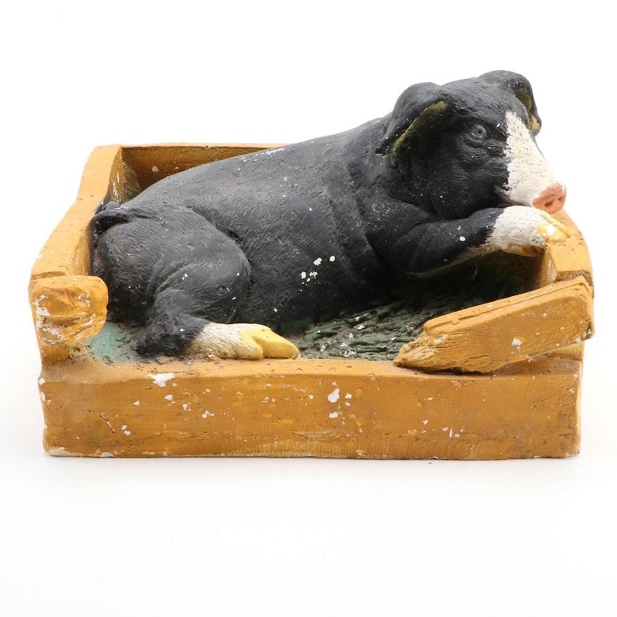 "Mexican ""Pluma de Cerdo"" Plaster Pig Figurine, Late 20th Century"