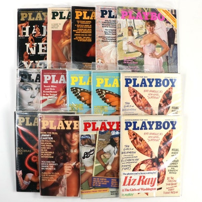 """""""Playboy"""" Magazines Featuring Sarah Miles, Elizabeth Ray and Others, 1976"""