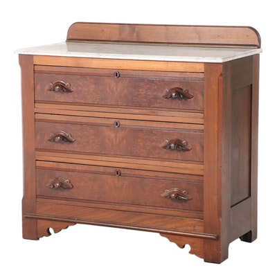 Victorian Walnut, Burl Walnut, Poplar, and White Marble Three-Drawer Chest
