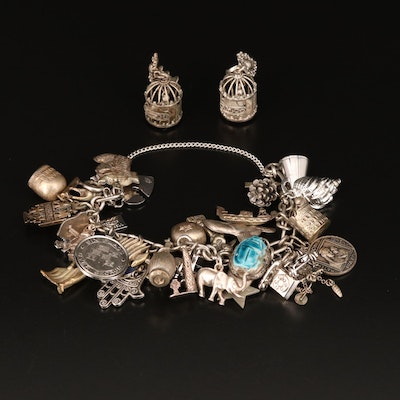 Vintage Bird Cage Earrings and Charm Bracelet Including Faience Scarab and Hamsa