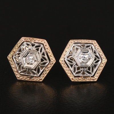 Art Deco 14K Diamond Hexagonal Two-Tone Earrings
