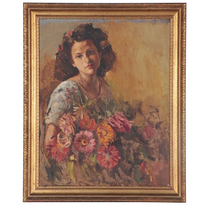 Portrait Oil Painting of Woman with Flowers, Mid to Late 20th Century