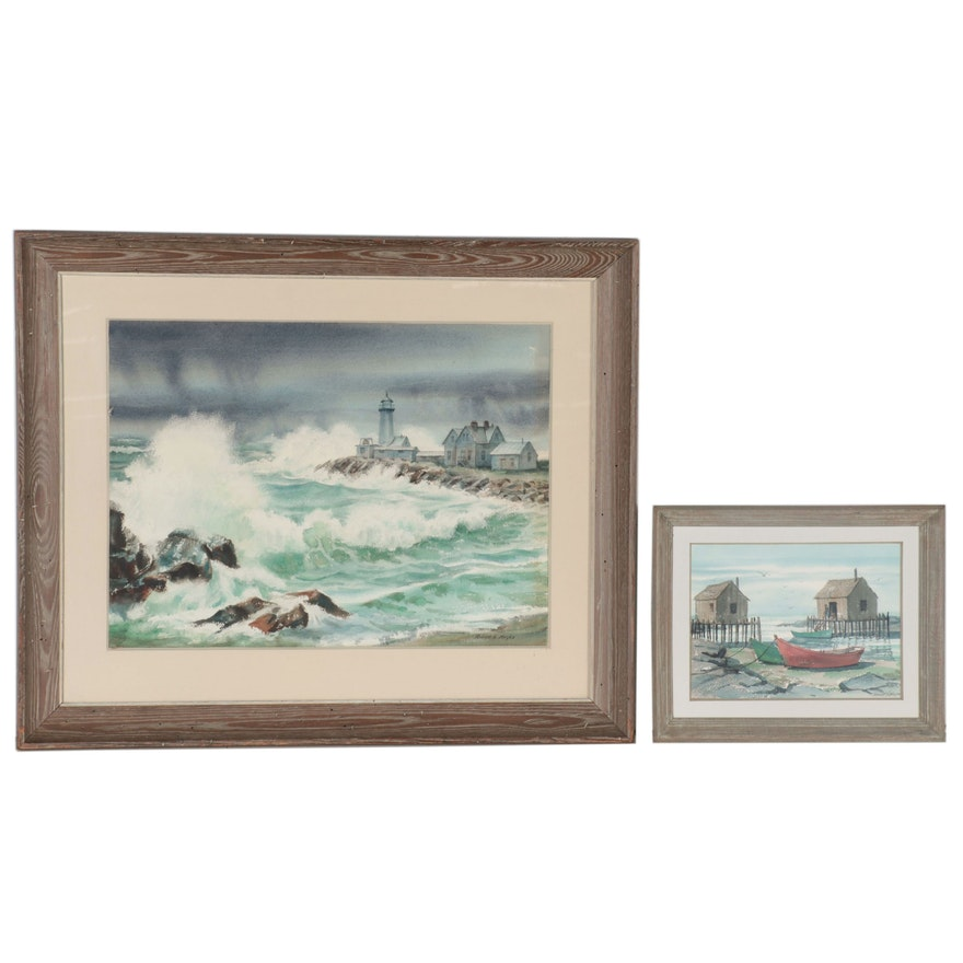 Robert T. Hayes Watercolor Paintings of Seascapes, Mid-Late 20th Century