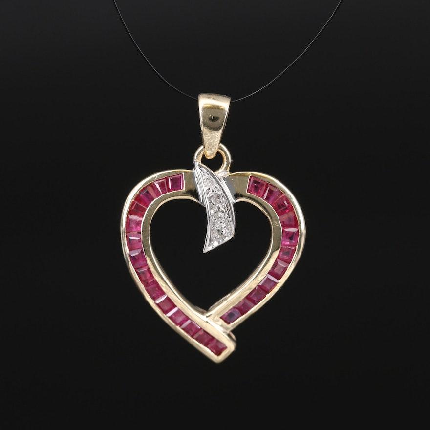 10K 1.00 CTW Ruby and Diamond Heart Pendant