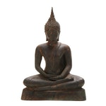 Thai U Thong Style Bronze Buddha in Half-Lotus Pose